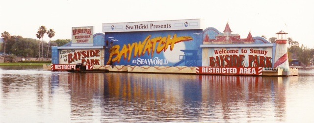 Pressure washing a set in the middle of a lake for Sea World of Orlando